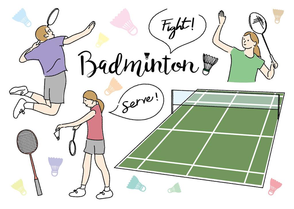 バドミントンの試合の超基本ルール【シングルスとダブルスのコートのラインを図で解説】