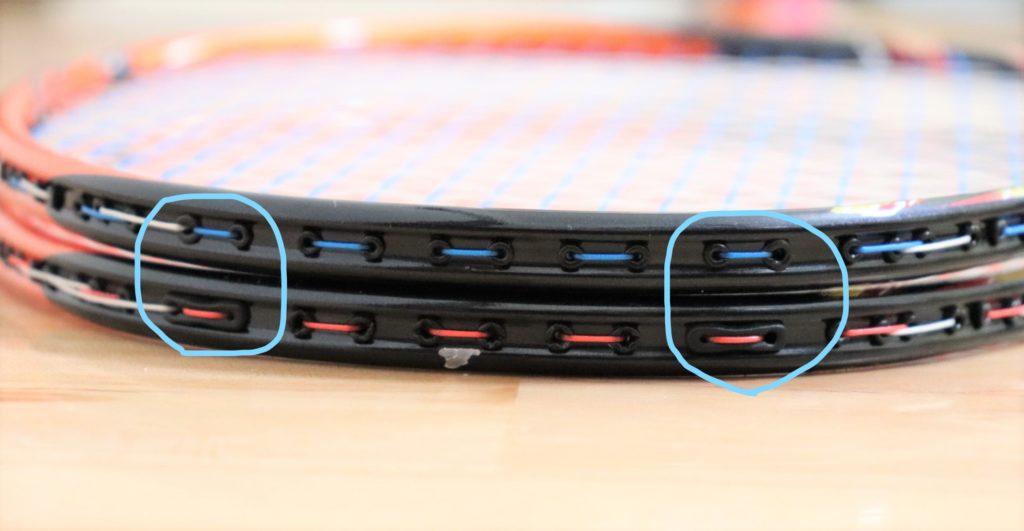 ラケットのグロメット改良箇所